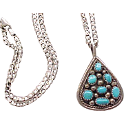 Turquoise and Sterling Necklace, Earrings