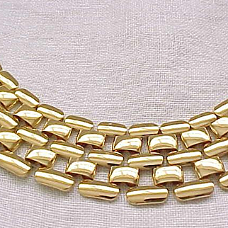 Nice Napier Tank Track Necklace - Goldtone