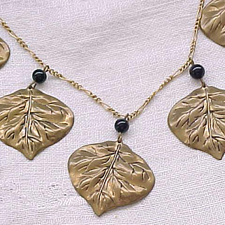 1940's Leaf Necklace, Black Glass Beads