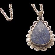 Gorgeous Lapis Teardrop Pendant, Sterling Silver