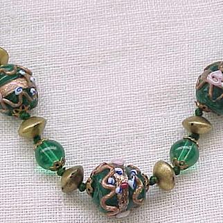 Stunning Necklace Green Wedding Cake Venetian Beads