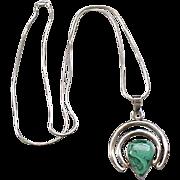 Distinctive Sterling Silver Pendant Necklace - Natural Stone