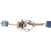 Lovely Blue Glass Necklace Sterling Floral Clasp