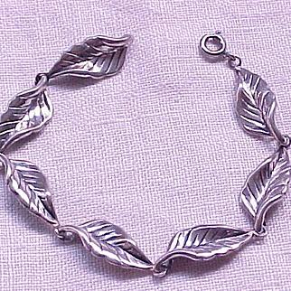 Danecraft Sterling Leaf Bracelet - Curled Edge