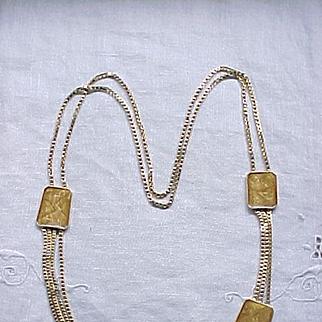 Stylish Kunio Matsumoto Multi Chain Necklace, Enamel Plaques