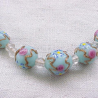 Exceptional Glass Wedding Cake Bead Necklace