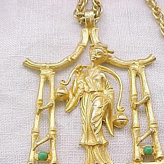 Impressive Hattie Carnegie Asian Goddess Necklace