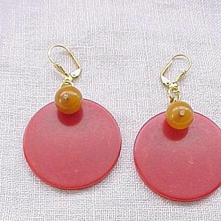 08 - Bakelite Earrings - Red Discs with Butterscotch Beads - Pierced Ears