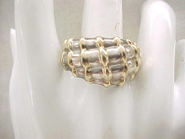 Interesting Large Sterling Ring - Size 11