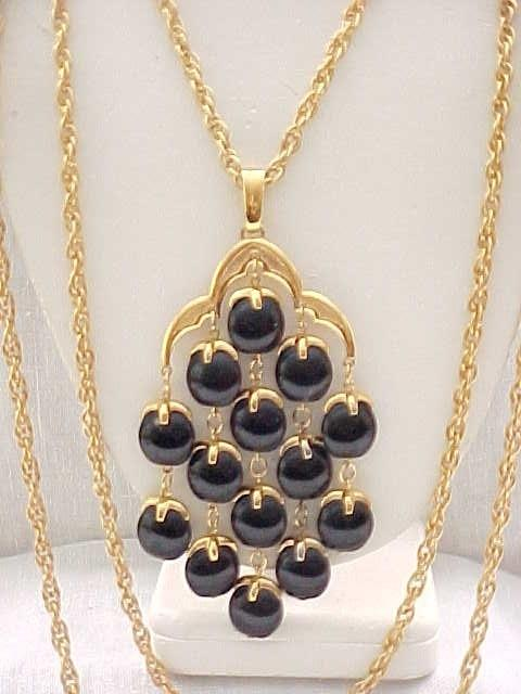 Iconic Trifari Waterfall Necklace - Hard to Find Black Beads