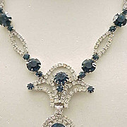 Stunning Sapphire Blue Rhinestone Necklace, Long Drop Earrings