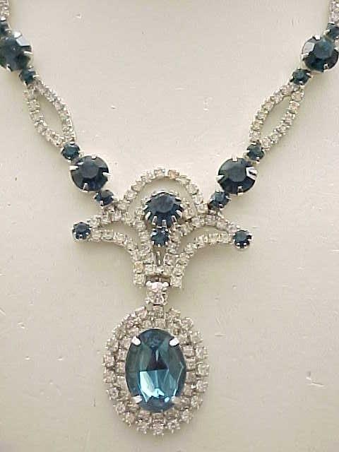 Stunning Sapphire Blue Rhinestone Necklace, Long Drop Earrings