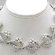 Stunning Ledo Necklace, Bracelet - Rhinestones, Faux Pearls