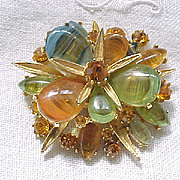Outstanding Art Rhinestone & Art Glass Pin - Earth Colors