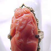 Victorian/Edwardian Carved Coral Ring - 10K - size 4 1/2