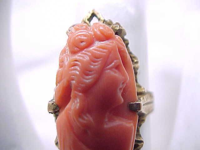 02 - Victorian/Edwardian Carved Coral Ring - 10K - size 4 1/2