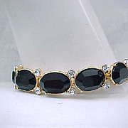 Elegant Monet Bracelet, Diamante and Black Rhinestones
