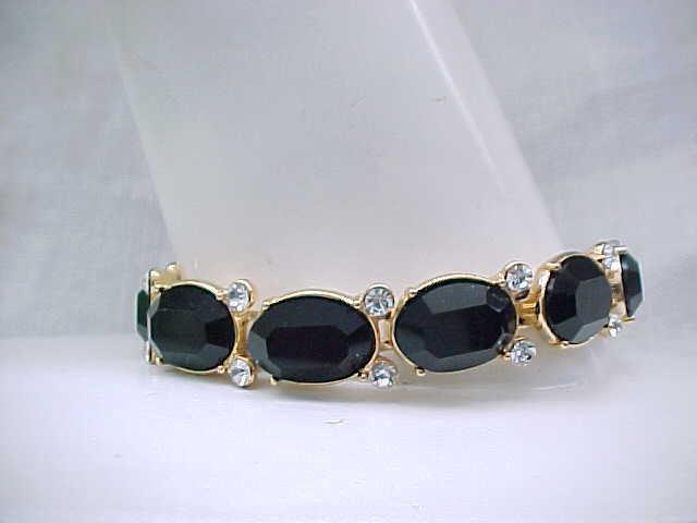03 - Elegant Monet Bracelet, Diamante and Black Rhinestones