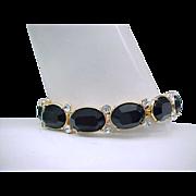 Elegant Monet Bracelet, Diamante and Black Rhinestones