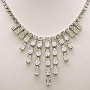 Weiss Rhinestone Bib Necklace Elegant Baguettes - Bridal