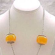 Pendant Necklace - Book Piece - Silvertone with Butterscotch Beads