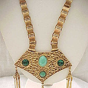 Huge Hollycraft Egyptian Revival Necklace Book Chain