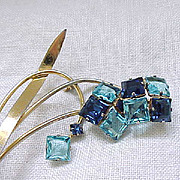 Deco Sterling Spray Brooch with Square Montana Blue & Aqua Rhinestones