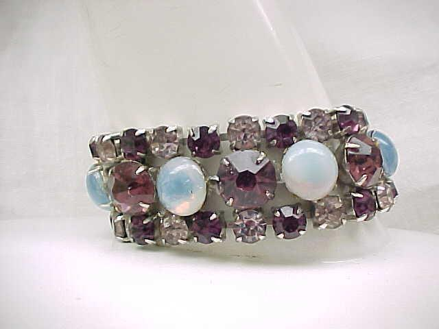 Stunning Rhinestone Bracelet - Purple with Glass Moonstones