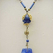 Luscious Czech Necklace - Deep Blue with Art Glass Pendant