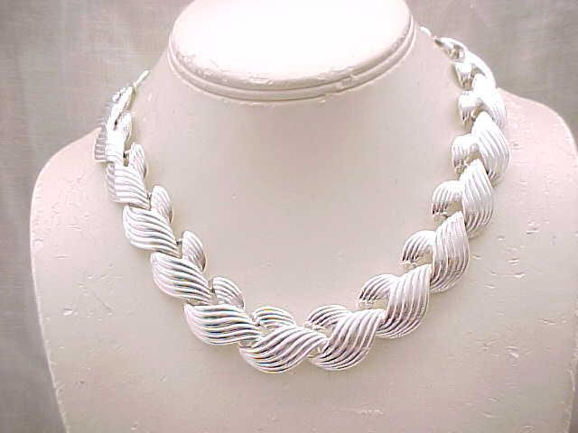 10 - Chunky Napier Silvertone Necklace - Outstanding Design