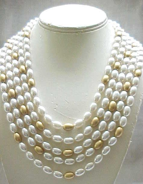 5 Strand Faux Pearl & Goldtone Necklace - Year 'Round Wear