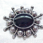 Awesome Sterling & Onyx Pin/Pendant - Space Age Design - with Chain