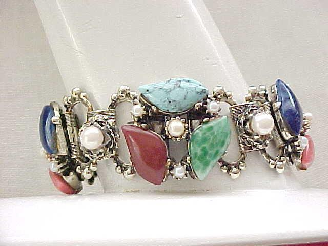 Awesome Book Chain bracelet, Natural Stones, Faux Pearls