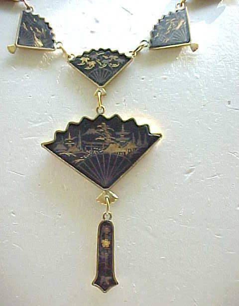 Damascene Fan Necklace, Bracelet, Earrings