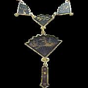 Damascene Fan Necklace, Bracelet, Earrings