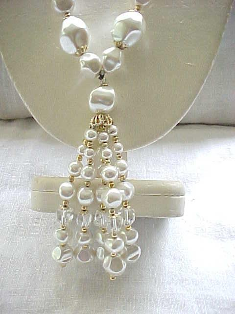 10 - Faux Pearl & Crystal Necklace with Tassel