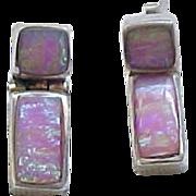 Opal and Sterling Earrings - Pierced Ears