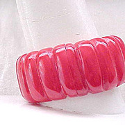 Fab Red Bakelite Clamper Bracelet - Wide with Carved Deep Ridges