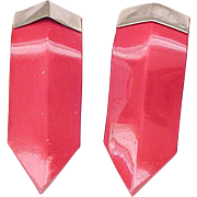 06 - Pair Lipstick Red Plastic Dress Clips - Made in USA