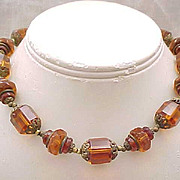 Deco Czech Necklace - Fabulous Topaz Beads, All Glass