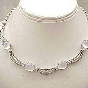 Elegant Pennino Rhinestone & Moonstone Necklace, Earrings
