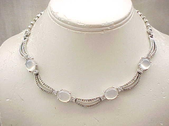 Elegant Pennino Rhinestone & Moonstone Necklace, Earrings