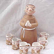 7 Piece Lefton Monk Decanter and Cups
