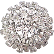 Glamorous Rhinestone Brooch - Dome Shaped - Austria