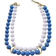 Chic Monet Blue and White Necklace