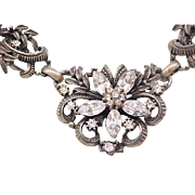 09 - Pretty Coro Necklace - Diamante Rhinestones, Antiqued Silvertone Metal