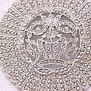 Beautiful Marcasite Brooch - Flower Basket