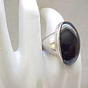 Fab Modernist Sterling and Onyx Ring Alfred Karram - Size 6 3/4