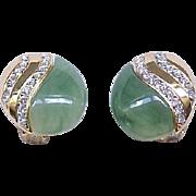 07 - KJL Clip Earrings - Green Lucite, Goldtone, Diamante Rhinestones