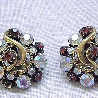 07 - Florenza Earrings Topaz, Aurora Borealis
